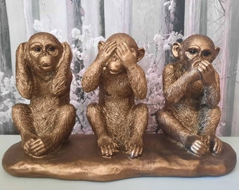 Brass Monkey Money Clip Men/'s Money Clip Antiqued Gold Antiqued Silver Brass Monkey Speak See Hear No Evil Three Wise Monkeys Gift for Him