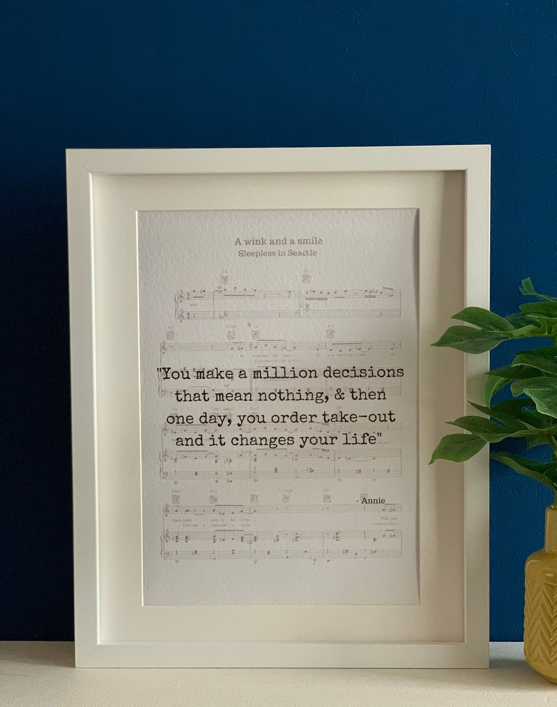 Sleepless in Seattle movie quote set on a music sheet | Etsy