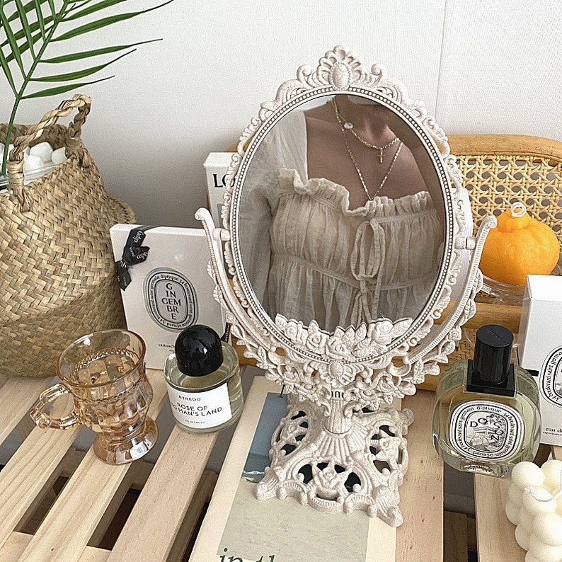 How to do Vintage Style Makeup : 1920s, 1930s, 1940s, 1950s Vintage Vanity Makeup Mirror - French Euro Inspired Decor Desk Mirror Victorian Decor Victorian Mirror - Decor Collection by Mad Markt $25.99 AT vintagedancer.com