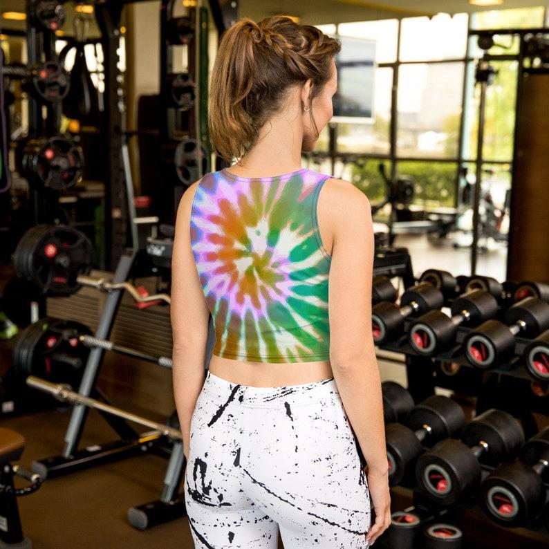 Artistic Hippie Sporty Sublimation Printed Boho Bright Tie Dye Yoga Crop Top Active Unique Colorful Crop Tank Top Cute Athleisure