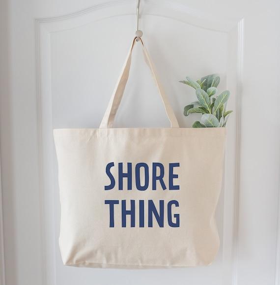 Beach bag Fun tote bag, Beach lover gift Christmas Beach Gift Shore Thing Beach tote