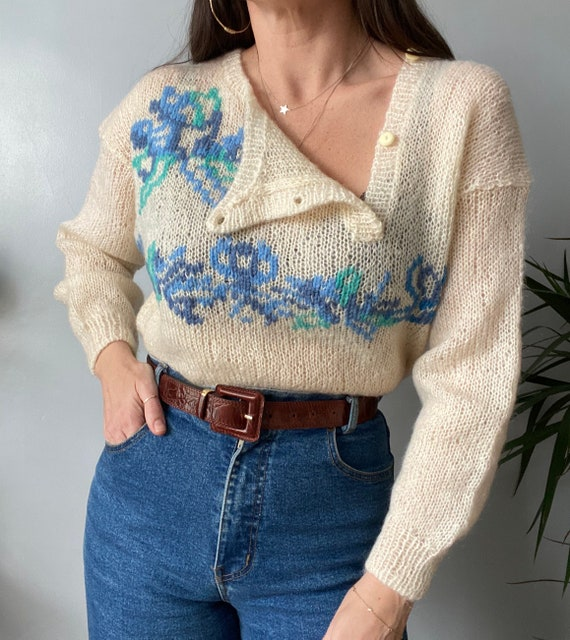 Vintage Hand Knitted Mohair Jumper - image 5