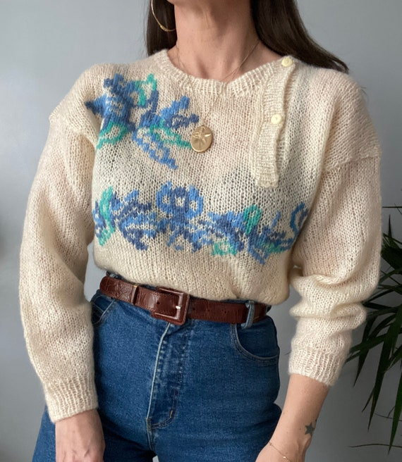 Vintage Hand Knitted Mohair Jumper - image 7