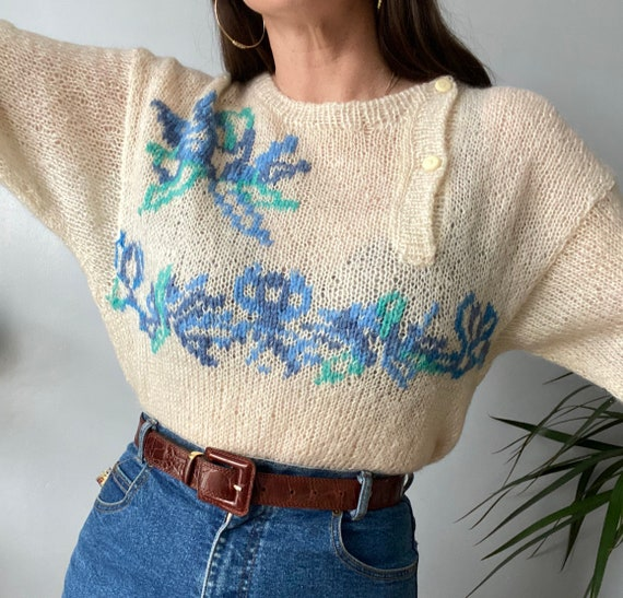 Vintage Hand Knitted Mohair Jumper - image 6