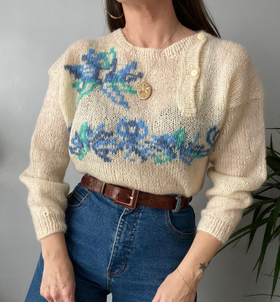 Vintage Hand Knitted Mohair Jumper - image 3
