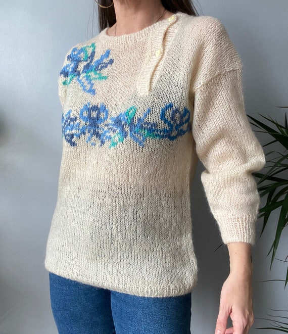 Vintage Hand Knitted Mohair Jumper - image 2