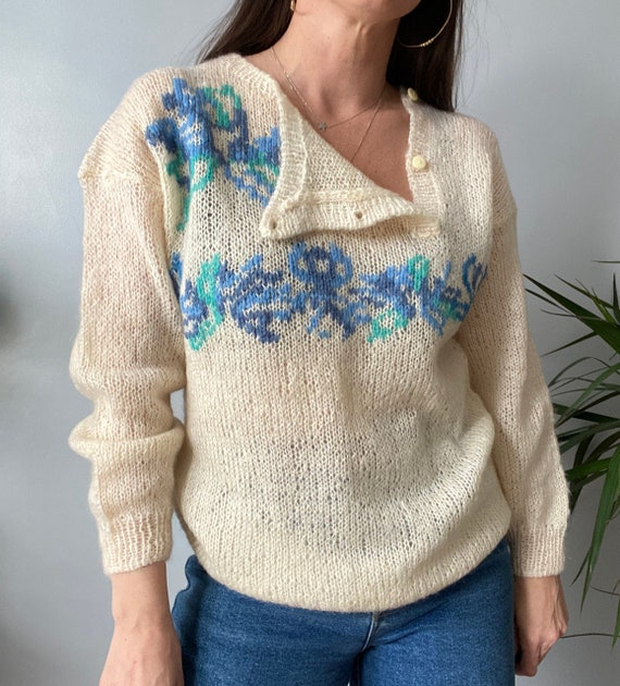 Vintage Hand Knitted Mohair Jumper - image 4