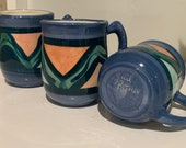 Gail Pittman 1995 Signed Mugs Ceramic Pottery Coffee Tea Cups