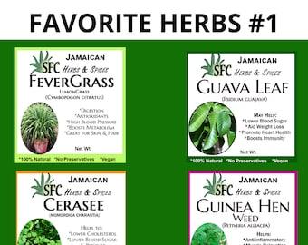 100% Organic Jamaican Wildcraft Guinea Hen Weed, Fevergrass, Cerasee, Soursop, Guava