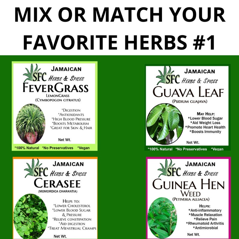100% Organic Jamaican Wildcraft Guinea Hen Weed Fevergrass image 1