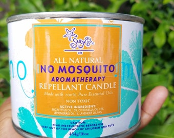 Jamaican Mosquito Candle. Citrus Smell. 16oz Candle in Tin. Repellant candle