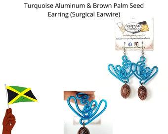 Bohemian Dangle Earrings - Unique Jamaican Aluminum Swirl Button & Palm Seed Earrings - Seed Earrings - Boho Jewelry