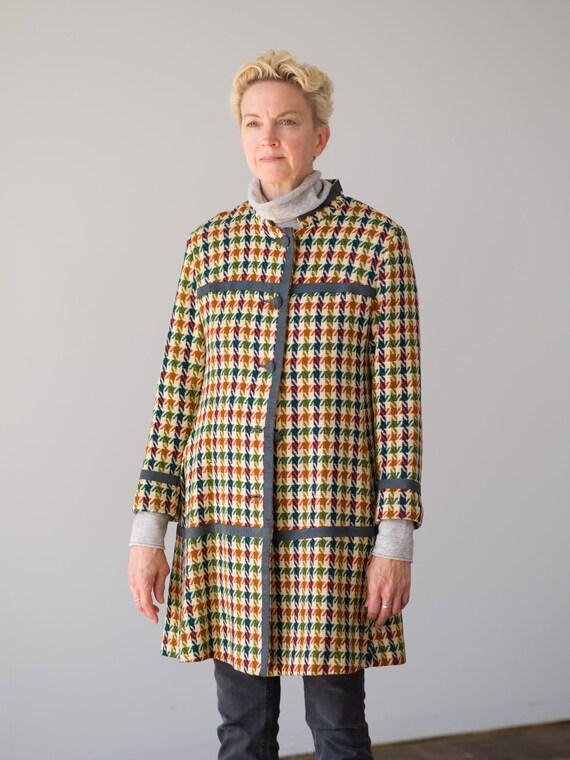 Vintage Plaid Jacket // Women Suede Trim Long Jack