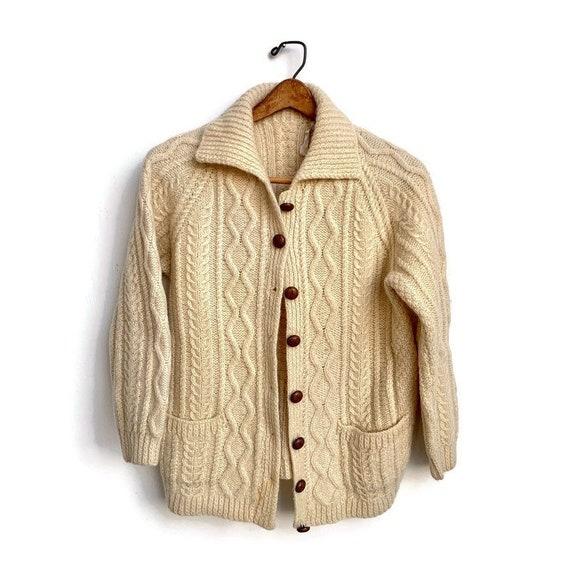 Vintage Aran Knit Wool Cardigan // Kinsale Cream F