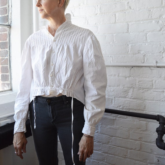 Edwardian Antique Blouse // White Cotton Womens Sh