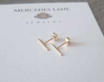 14K Gold Filled Petite Bar  Stud Earrings ~ Tiny Stud Earrings ~ Trendy Jewerly ~  Jewelry Canada ~ Free Shipping Canada