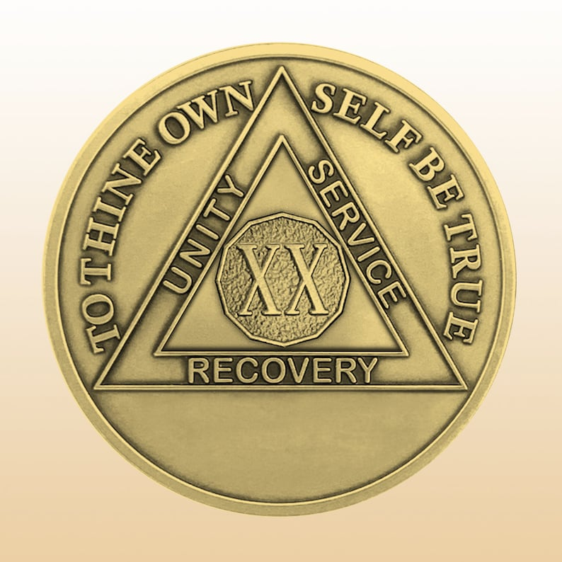 NA Chip Sober Gifts Serenity Prayer 20 Years Sober Anniversary AA Coin 20 Years Sober Traditional  Antique Bronze Sobriety Coin