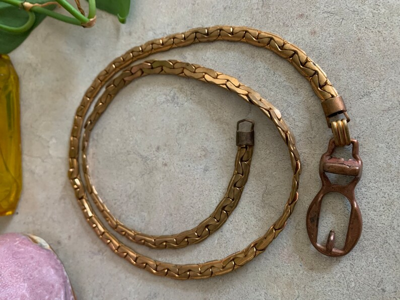 vintage mixed metal 1970s chain belt with functional buckle