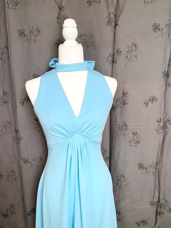 1970s Maxi Dress, Vintage 70's Maxi, Baby Blue Max