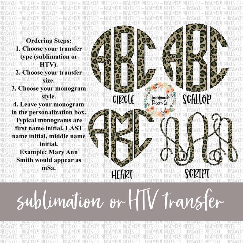 Iron On Vinyl Leopard Camouflage Monogram Transfer Sublimation Transfer HTV Tranfser Monogram Transfer Ready to Press