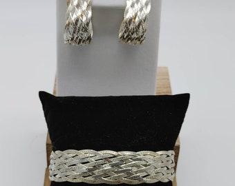 Vintage Italian Sterling Silver Basket Weave Bracelet and earrings Set.  JT87