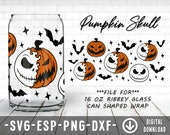Pumpkin Skull Coffee Glass Wrap Svg, 16oz Libbey Full Wrap Svg, Files for Cricut other e-cutters
