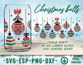 Christmas balls Coffee Glass Wrap Svg, 16oz Libbey Full Wrap Svg, Files for Cricut other e-cutters