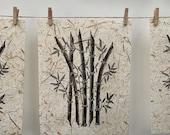 BAMBOO - Original Linocut Print, Botanical Print, Lino Print, A4 Print, Hand Printed, Lucky Bamboo Print, Botanical Art, Nature Illustration