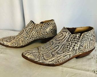Vintage Leather Snakeskin Mens Ankle Boots Mid Heel Size 8 AU
