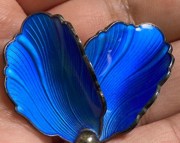 Vintage Hans myhre blue guilloche enamel leaf brooch