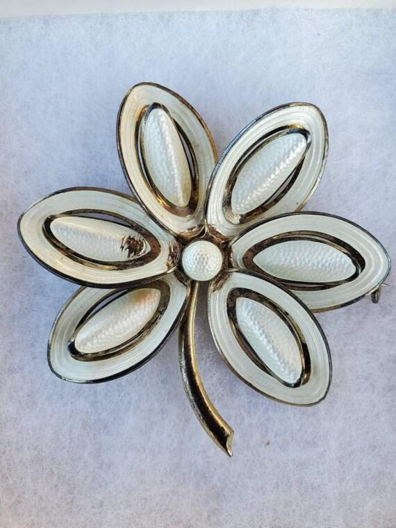 Vintage Norwegian Sterling Silver White Enamel Bro