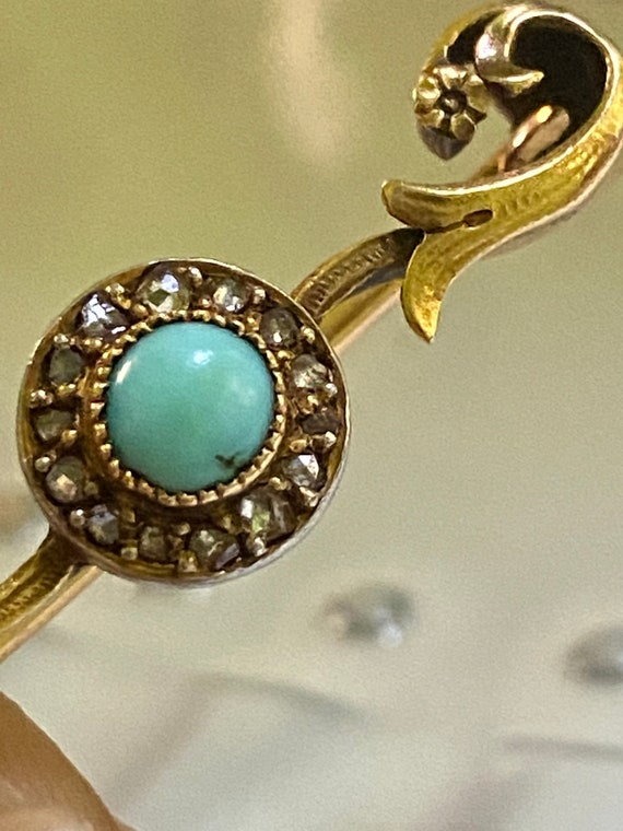 Antique 18k solid gold turquoise and diamond Victo
