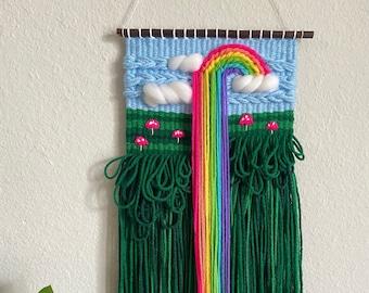 Small Neon Rainbow & Mushroom Weaving, Woven Wall Hanging, Tapestry