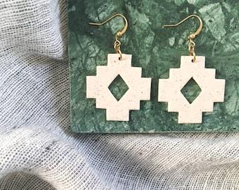 Statement Jewelry Lightweight Earrings Artisan Aztec Design Deep Pine Green Handmade Polymer Clay Earrings Christmas Collection
