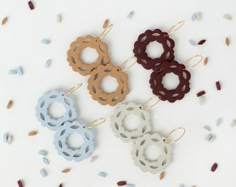 Vine Hoops   Polymer Clay Jewelry   Autumn Fall Palette   Argentium Silver   14K Gold Filled   Hypoallergenic   Lightweight   Gift Idea