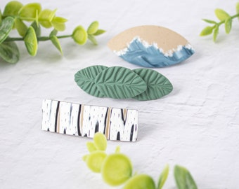 Polymer Clay Barrette   Nature Inspired Designs   French Barrette   Statement Hair Accessory   Women Gift Idea