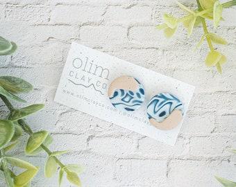 Shoreline Studs   Polymer Clay Jewelry   Nickel Free   Titanium Posts   Statement   Hypoallergenic   Lightweight   Mother's Day Gift Idea