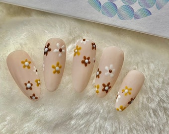 Press on nails almond made for fake nails, false nails, press on nails short flowers or glue on nails, stick on nails. Ready to ship 5977