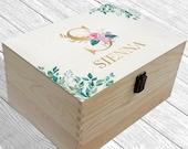 Personalised Memory Box Keepsake Box Floral Monogram Box Wooden Box Eucalyptus leaves box Gift Box Storage Box