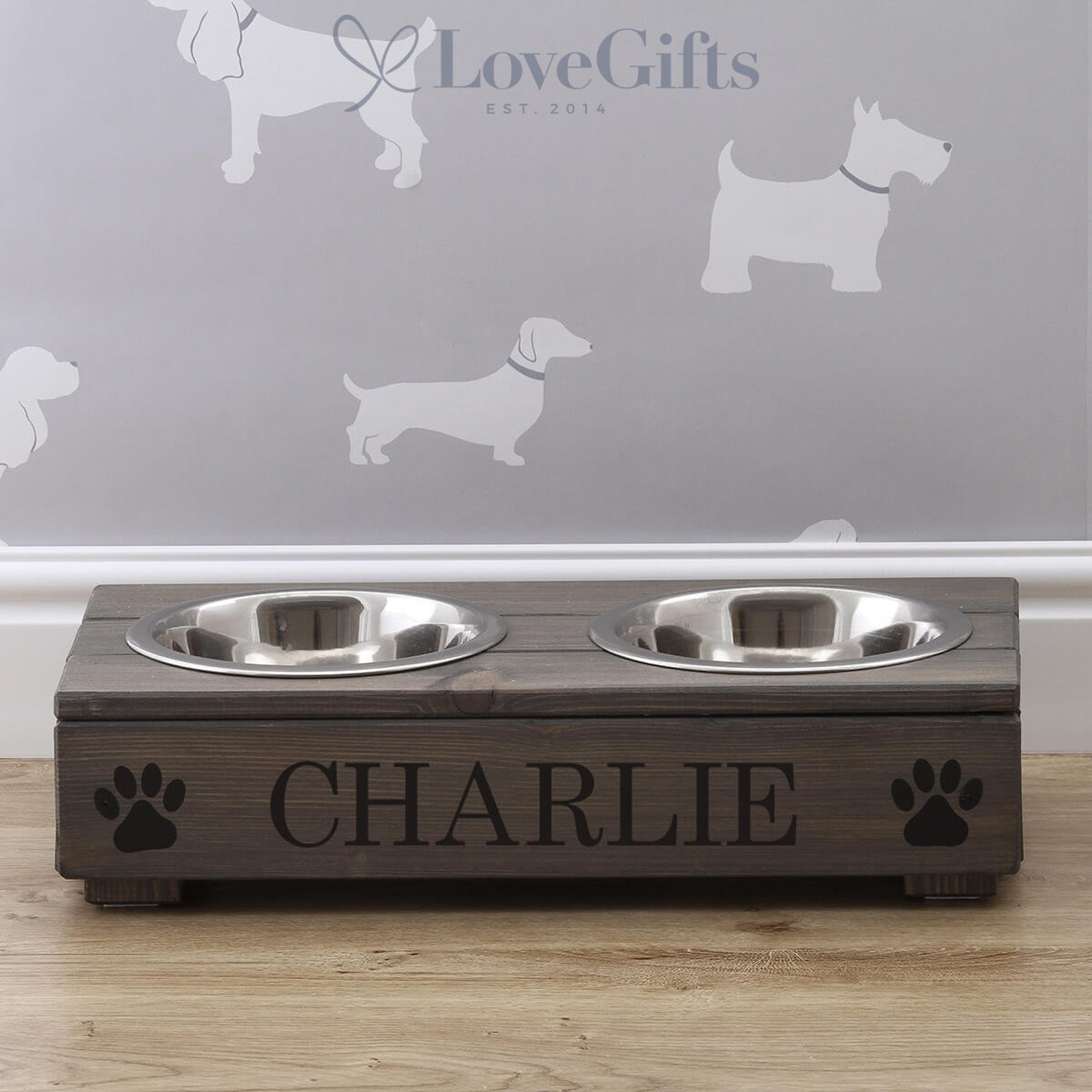 Double Grey Wooden Dog Bowl Stand