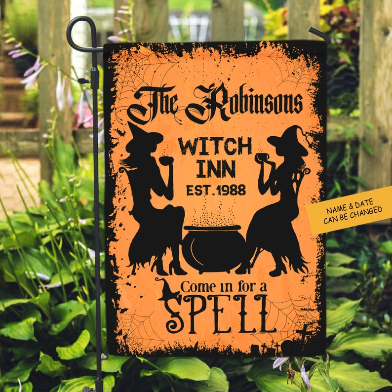 Personalized Come In For A Spell Halloween Flag Witch Yard image 2