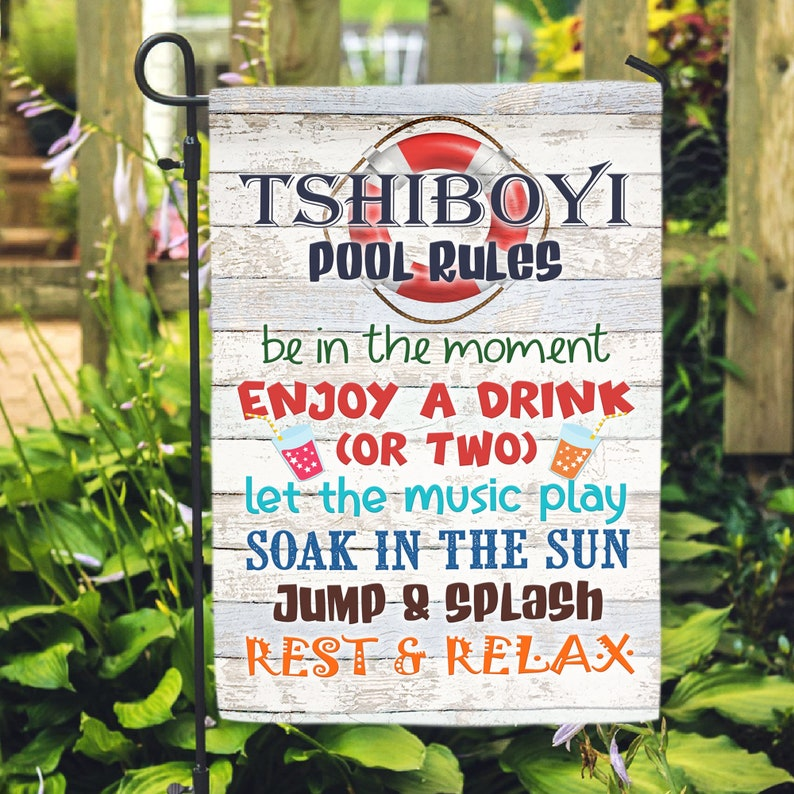 Gearhuman – Pool Rules Flag Let The Music Plag Flag Welcome Pool Party