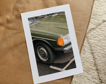 A4 Green Mercedes in Notting Hill Print