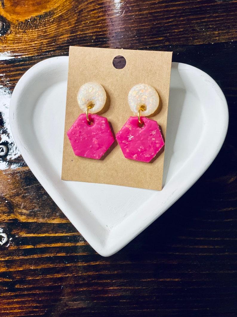 Pink Earrings Lightweight Earrings Opal Earrings Handmade Earrings Gift for Her Hexagon Earrings Clay Earrings Dangle Earrings