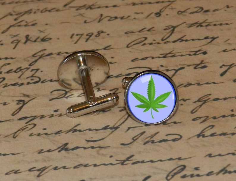 Herb Leaf Weed- Cufflinks Bronze or Stainless Steel Gift for Groom Him Bachelor Cuff Link and Tie Clip Combo Husband Tie Clip