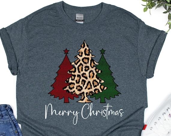 Christmas Tree Shirt, Leopard Christmas T-shirt