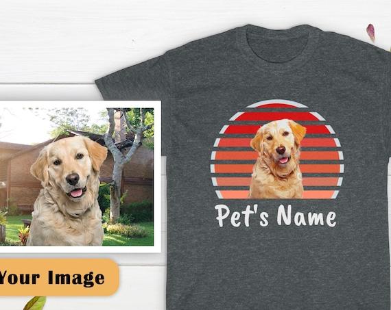 Retro Dog Shirt, Custom Dog Shirt, Retro Sunset Dog Shirt, Dog Lover Shirt, Custom Pet Shirt, Dog Lover Gift, Retro Shirt, Cotton T-shirt