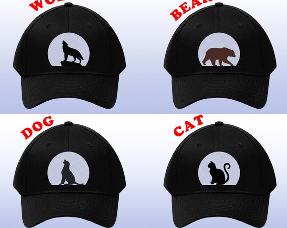 Animal Hat, Embroidered Hat, Dad Hat, Embroidery Hat, Baseball Cap, Bear Hat, Wolf Hat, Dog Hat, Cat Hat, Mens hats, Womens Hats, Gift Hat