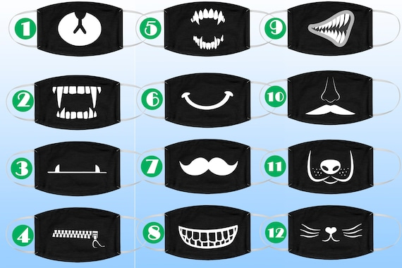 Funny Face Mask, Funny and Cool Face mask, Smile Face Mask, Funny Reusable Face Mask, Vampire Teeth, Zipper, Moustache, Fun Mask, Fabric