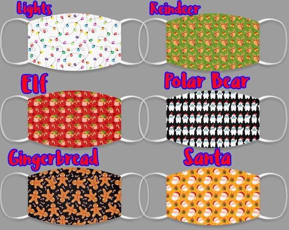 Pattern Face Mask, Christmas Face Mask, Holiday Face Mask, Christmas Gift, Santa Mask, Reindeer Mask, Christmas Lights Mask, Reusable Mask